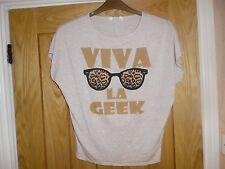 """Tammy Girls Beige """"Viva La Geek"""" T-shirt. Age 8"""