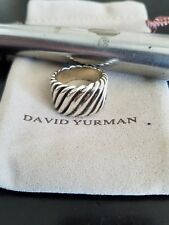 David Yurman Sterling Silver Wide Sculpted Cable Cigar Band Ring Sz 6.5 in EUC