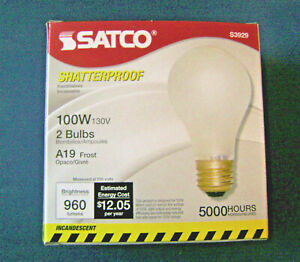 Satco 2 pk 100W A19 Tuff Kote 130V Shatter Resistant Incandescent Light Bulb