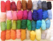 4.2 oz / 120 gr Set of Sheep Wool Fiber for Needle Felting, Spinning, 40 Colors