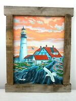 Completed Lighthouse Nautical Seaside Paint By Number Rustic Wood Frame Red Blue
