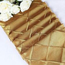 "12""x108"" Gold Taffeta Pintuck Table Runner Wedding Kitchen Dinner Table Decor"