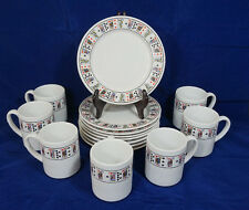 LILLIAN VERNON (8) Party Plates & (7) Cups WHITE w/ PLAYING CARDS Bridge Poker