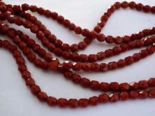 50 4 mm Czech Glass Firepolish Beads: Burnt Amber