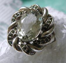 Green Amethyst BLUE DIAMOND Sterling Silver Ring Sz 8