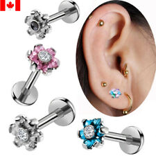 1PC Sexy Surgical Steel Flower Top Labret Lip Stud Ring Tragus Earring 16G/1.2MM