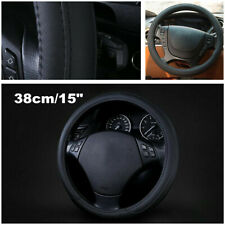 "Premium Black Soft Leather Steering Wheel Cover 38cm/15"" for Auto Car Truck"