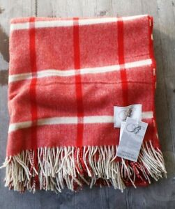 Bronte by Moon UK 100% Pure Merino Wool Throw Red and Taupe Check – New
