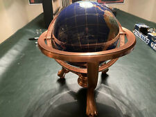 "LARGE 8"" SEMI PRECIOUS STONE WORLD GLOBE WITH BRASS STAND AND COMPASS"