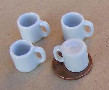 1:12 SCALA 4 Bianco TAZZE doll House Miniatura in Ceramica Cucina Bere Accessorio W63