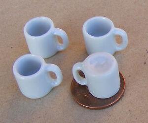 1:12 Scale 4 White Ceramic Mugs Tumdee Dolls House Kitchen Drink Accessory W63