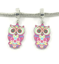 Fashion 2pcs Silver OWL European Charm Spacer Beads Fit Necklace Bracelet  NEW