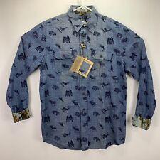 Tailor Vintage Mens Indigo Long Sleeve Thin Faded Denim Shirt Blue S