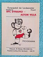 1981-DYNAMO BERLIN V Aston Villa programme-Coupe d'Europe 2ND Tour