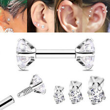 16G DOUBLE SIDE PRONG SET CZ GEM INTERNALLY THREADED STEEL HELIX TRAGUS EARRINGS