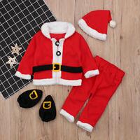 New 4pcs/Set Red Santa Claus Clothes Baby Girls Boys Christmas Costume Suit Set