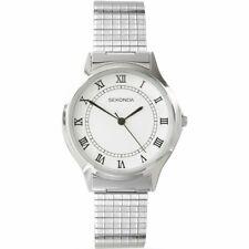 Sekonda Hombre Blanco Esfera Acero Inoxidable Expandible Reloj de Pulsera 3022B