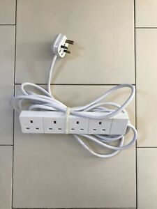 5m Extension Lead Cable Electric Plug Socket UK Mains Power 4 Gang Way USED