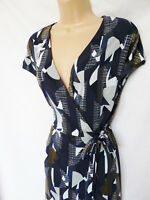 BNWT NEXT New Ladies geo navy print casual work evening wrap tunic jersey dress