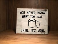 Rustic Bathroom Wood Sign TOILET PAPER, funny home decor humor, handmade tp