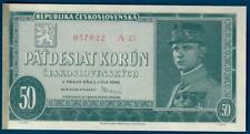 Czechoslovakia 50 korun 1948, P66, UNC NOT perforated issue, w/ tape residue