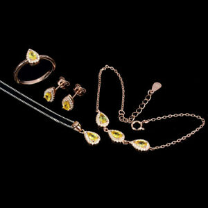 Pear Yellow Sapphire 5x3mm Cz 14K Rose Gold Plate 925 Sterling Silver Sets
