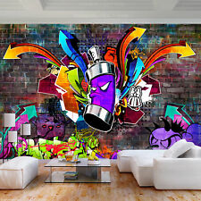 Fleece Photo Wallpaper Mural Graffiti Colorful Stone Wall Wallpaper Children Roo...