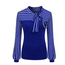Women Tie-Bow Neck Striped Long Sleeve Splicing Formal Business Shirt Blouse Top
