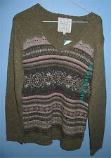 Women's XL One on One V Neck Sweater Acrylic Blend Green with Pattern