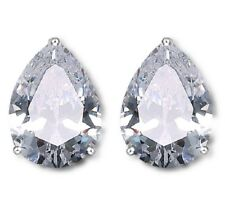 Boxed Clear Green Blue Pear Teardrop Silver Clipon Clip on CRYSTAL EARRINGS UK