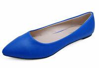 WOMENS BLUE SLIP-ON WORK FLAT SHOES DOLLY COMFY BALLET BALLERINA PUMPS UK 3-8