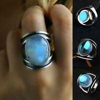 Men Women Oval Moonstone Big Rings Silver Metal Rainbow Stone Ring Opal Jewelry