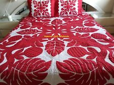 Hawaiian Quilt  King/Queen BEDSPREAD 100% hand quilted/hand appliqué 2 shams RED