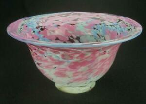 Attractive Art Glass Hand Blown Colourful Glass Bowl Unbranded Pink Blue KC586