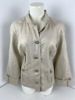 Chicos Gold Button Down Blouse Top Women's Sz 2.5 Large Roll Sleeve Gold Buttons