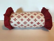 "Colonial Williamsburg Snowfall 11"" Bolster Pillow Neck Roll Red & White Ruffle"