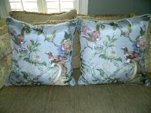 Silk Bird 20 x 20 Pillows (2) Light Bluish Purple