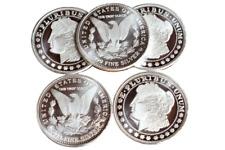 Lot of (5) 1 Troy oz. Morgan Design Silver Dollar .999 Fine Silver Round