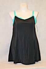 Swimsuits for All Plus Black Green Princess Swimdress Control Support NWT W 18