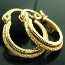 AN543 GENUINE REAL 18K YELLOW G/F GOLD GIRLS DIAMOND DUST DESIGN HOOP EARRINGS