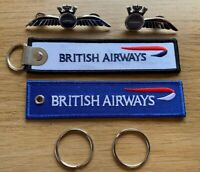 BRITISH AIRWAYS 100 Years RBF Keychain + Pilot / Crew Wings - Badge Aviadirect®