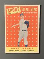 1958 Topps #487 Mickey Mantle All-Star EXMT New York Yankees HOF