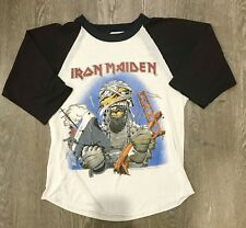 Vintage IRON MAIDEN 1985 CALIFORNIA INVASION T-SHIRT SMALL RARE ROCK PAPER THIN