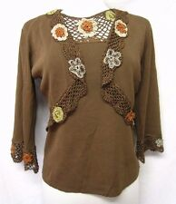 JOSEPH A. TANK TOP+BOLERO twinset Brown rib Knit/CROCHET TRIMS sz S/M NWT $108