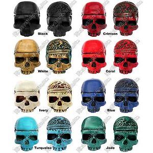 Resin Skull Storage Box: skeleton trinket container ashtray bone decorative jar