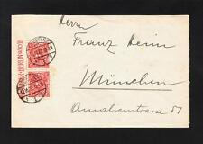 Germany Inflation Era Konstanz 1922 Vert Joined 3p Posthorn Pair Ad Selvage z73