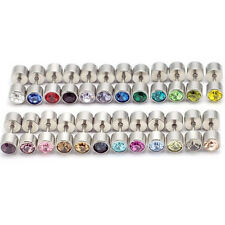 24pairs/lot 6mm Austrian crystal titanium dumbbell Punk Unisex stud earrings