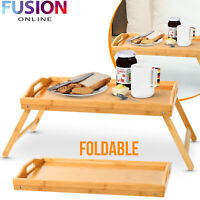 Bamboo Lap Tray Serving Breakfast Desk Laptop Table Sofa Notebook Bed Folding