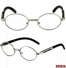 CLASSIC	VINTAGE RETRO Style Clear Lens EYE GLASSES Wood Buffs Silver Frame