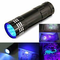 9 LED 3W UV Taschen Lampe LED Taschenlampe Handlampe Flashlight Leuchtfarbe Lila